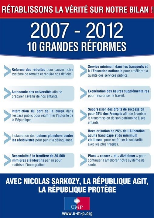 2007-2012 10 grandes réformes. Rétablissons la vérité sur notre bilan !